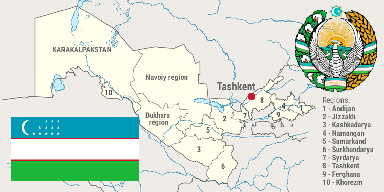 About Uzbekistan Embassy Of The Republic Of Uzbekistan In Malaysia - Uzbekistan map png